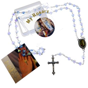 Iridescent blue glass heart rosary beads Our Lady of Lourdes image in box