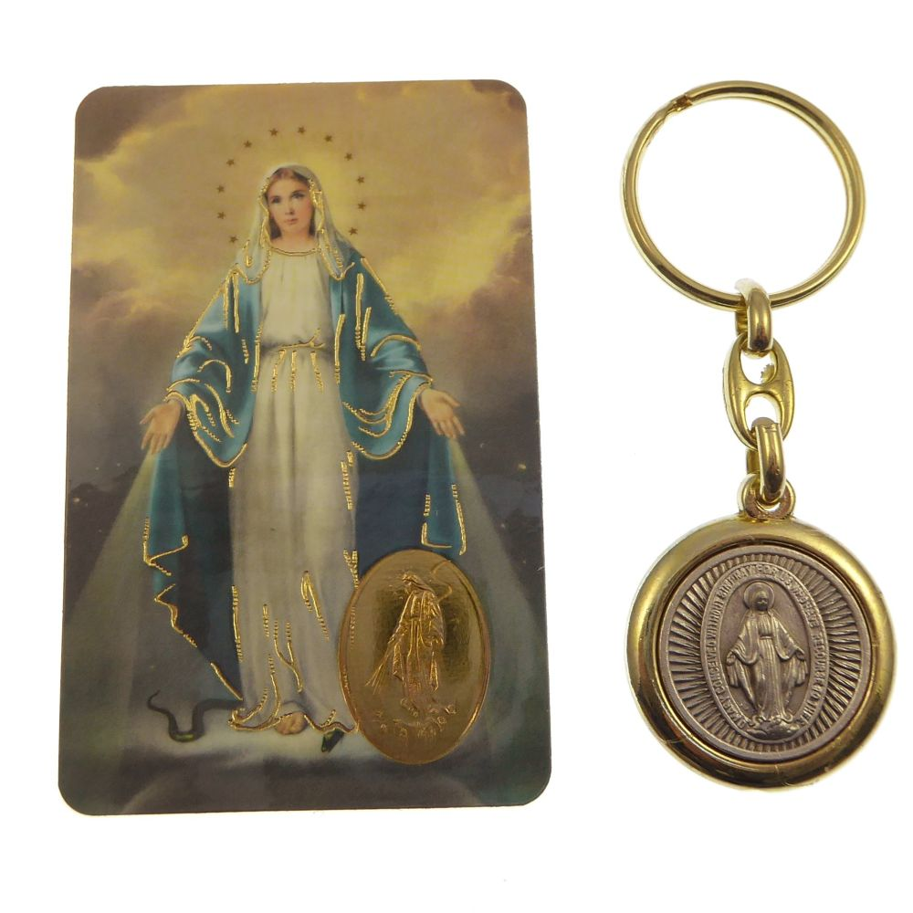 Virgin Mary Miraculous brass and silver keyring with Memorare prayer card