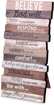 Lighthouse Christian Products Believe Wall Art Plaque, Rustic Stacked Pallet, 5x10