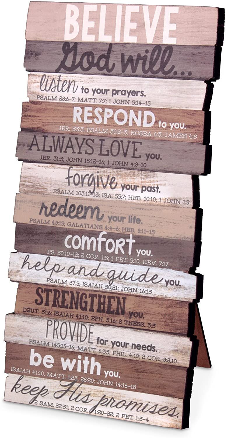 Lighthouse Christian Products Believe Wall Art Plaque, Rustic Stacked Palle