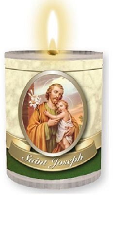 4 x St. Joseph candles Burns for 24 hours Picture on the front Prayer on th