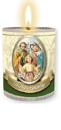 4 x Holy Family family prayer candles Burns for 24 hours Picture on the fro