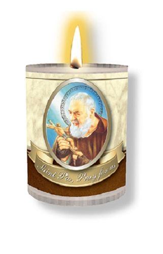 4 x St. Padre Pio Candles Burns for 24 Hours Picture on The Front Prayer on