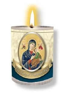 4 x Our Lady of Perpetual Help Candles Burns for 24 Hours Picture on The Front Prayer on The Back 2.5 inch Tall