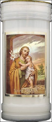 St. Joseph candle 72 hour burn Prayer Saint Catholic 15cm White