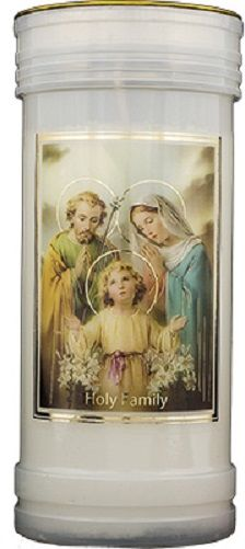 Holy Family candle 72 hour burn Prayer Saint Catholic 15cm White
