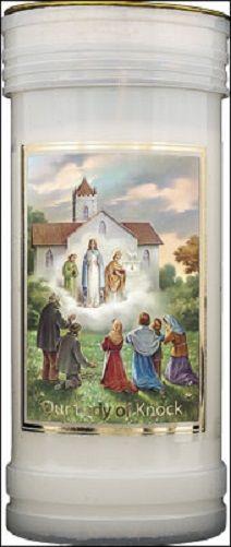Our Lady of Knock candle 72 hour burn Prayer Saint Catholic 15cm White