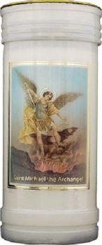 St. Michael candle 72 hour burn Prayer Saint Catholic 15cm White