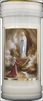 Our Lady of Lourdes candle 72 hour burn Novena Prayer Saint Catholic 15cm White