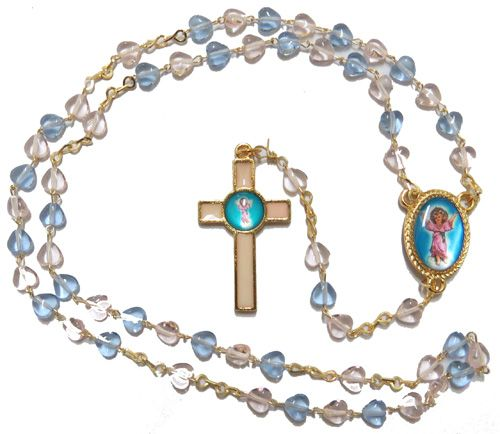 Divine Child rosary beads pink blue glass hearts gold chain Jesus 47cm