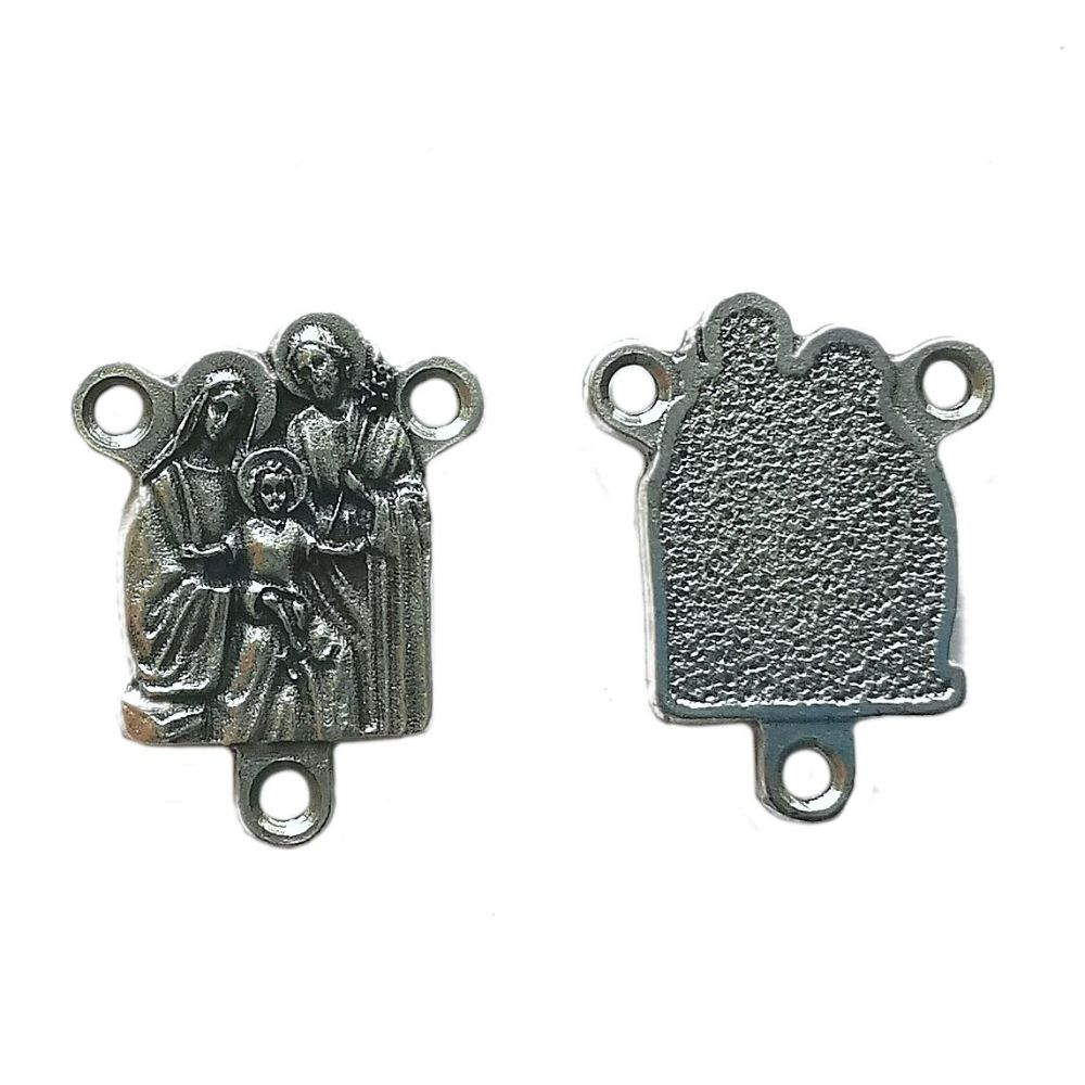 Holy family centrepiece connector for rosaries silver colour 2.5cm