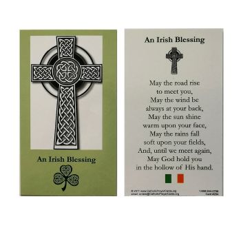 An Irish Blessing prayer card 9cm wallet size celtic cross
