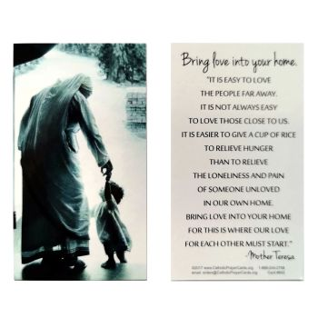 "Mother Teresa prayer card""Bring love into your home"" 9cm wallet size"