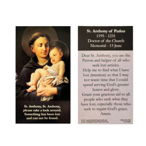 St. Anthony of Padua lost articles items prayer card 9cm wallet size