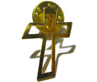 Gold metal cross crucifix pin badge