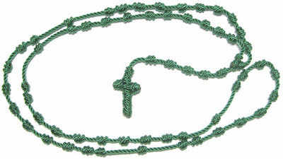 Green rope cord knotted thread rosary beads necklace