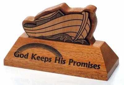Ark - God Keeps His Promises wooden carved ornament