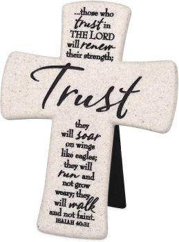 Trust Christian Cross Cast Stone desktop hanging or standing 14cm