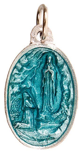 Enamelled blue Lourdes medal with silver metal alloy base St. Bernadette re