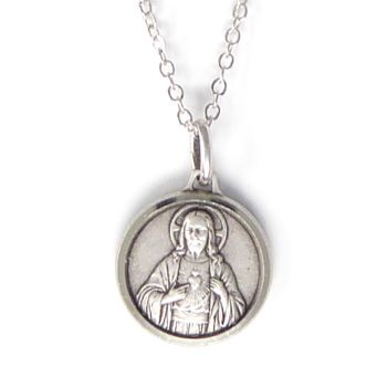 "Silver plated gift boxed Sacred Heart of Jesus round 1.8cm medal and 18"" necklace Catholic"