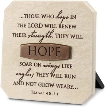 Hope In The Lord Sandstone 3.75 x 3.75 Cast Stone Bronze Title Bar Plaque