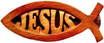 Shalom Jesus fish magnet mahogany wood 10cm Catholic gift