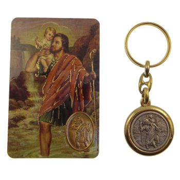 C bc St. Christopher brass and silver keyring with The Motorist's prayer card