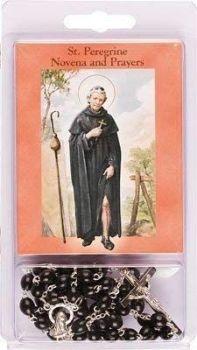 Rosary Beads & Novena Booklet Black St Saint PEREGRINE