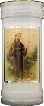 St. Francis candle 72 hour burn Prayer Saint Catholic 15cm White