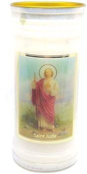 St. Jude candle 72 hour burn Prayer Saint Catholic 15cm White