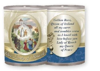 4 x Our Lady of Knock candles Burns for 24 hours Picture on the front Prayer on the back 15cm tall