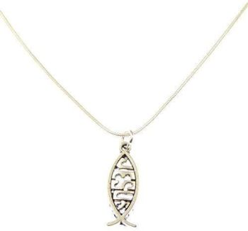 """3cm Jesus fish pendant on silver 17"""" silver snake chain necklace in organza gift bag"""