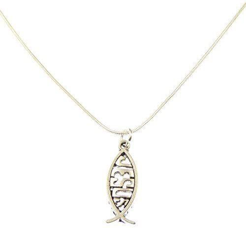 3cm Jesus fish pendant on silver 17