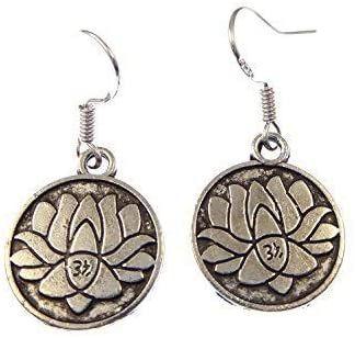 2cm tibetan silver lotus flower dangly earrings on sterling silver hooks in organza gift bag