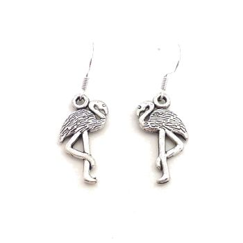 Flamingo dangly earrings sterling silver hooks 2.5cm in gift bag