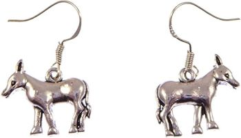 Fun silver donkey dangly earrings sterling silver hooks 2cm in gift bag