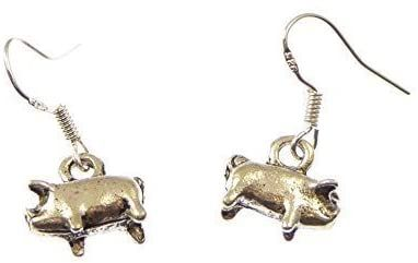 Fun small silver pig dangly earrings sterling silver hooks 1.2cm in gift bag