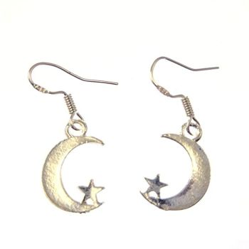 1.5cm tibetan silver moon and star dangly earrings on sterling silver hooks in organza gift bag