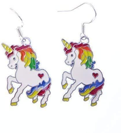 3cm white rainbow unicorn earrings on sterling silver hooks enamel in a gif
