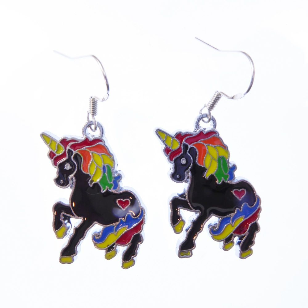 3cm black rainbow unicorn earrings on sterling silver hooks enamel in a gif