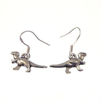 Fun tibetan silver 2cm t-rex style cute dangly dinosaur earrings on sterling silver hooks in organza gift bag