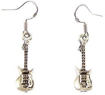 R Heaven guitar shape dangly drop earrings sterling silver hooks gift 2.5cm