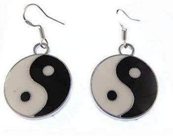 2.5cm 90's style enamel black and white yin yang metal earrings on sterling silver hooks in organza gift bag ying yan