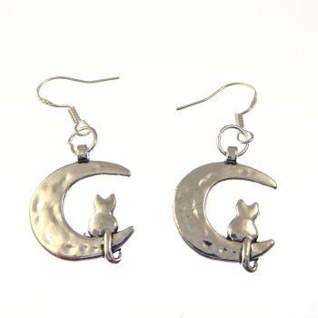 2cm tibetan silver cat sat on the moon metal earrings on sterling silver hooks in organza gift bag