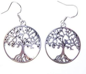 3cm tibetan silver tree of life earrings on sterling silver hooks in a gift bag