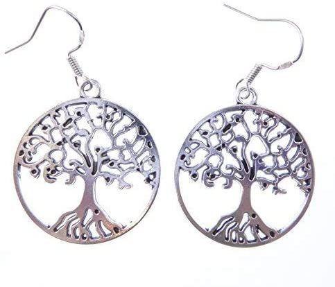 3cm tibetan silver tree of life earrings on sterling silver hooks in a gift
