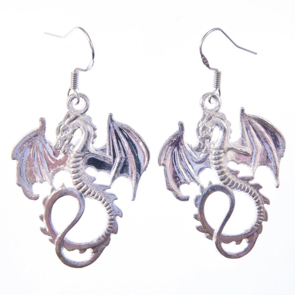 3.5cm tibetan silver dragon with wings earrings on sterling silver hooks in