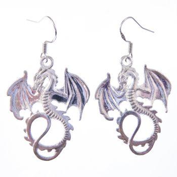 3.5cm tibetan silver dragon with wings earrings on sterling silver hooks in organza gift bag