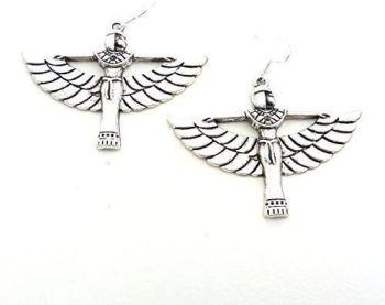 Egyptian queen wings large dangly earrings sterling silver hooks 6cm in gift bag