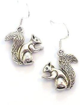 Fun silver squirrel dangly earrings sterling silver hooks 2cm in gift bag